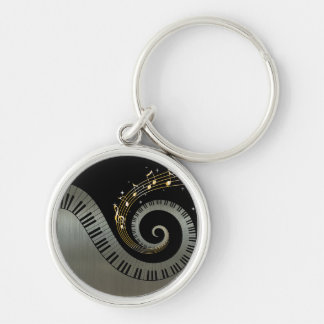 Piano Keys and Gold Music Notes Silver-Colored Round Key Ring