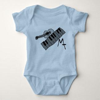 piano keys and guitar baby onsie baby bodysuit