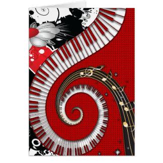 Piano Keys Music Notes Grunge Floral Swirls