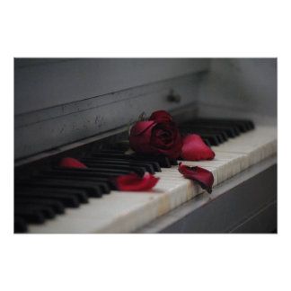 Piano Keys with a Red Rose Poster