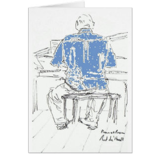 Piano Man in Blue shirt any occasion your words Card