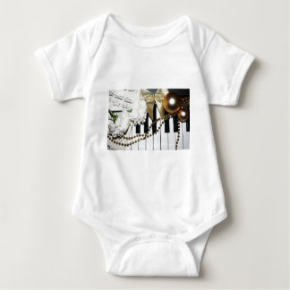 Piano or Organ Keyboard and White Carnations Baby Bodysuit