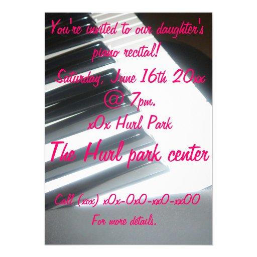 Piano recital personalized invites
