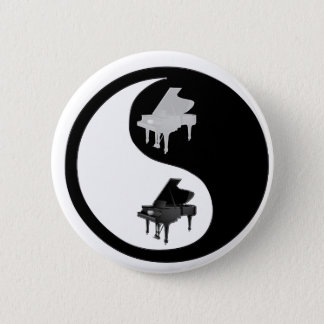 Piano Ying Yang 6 Cm Round Badge