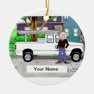 Pick Up Truck, White - Male Christmas Ornament