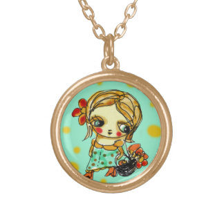 Picking flowers gold plated necklace