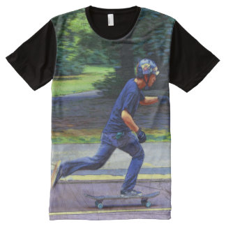 Picking Up Speed  -  Skateboarder All-Over Print T-Shirt