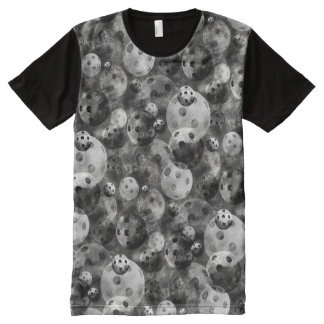 Pickleball Shades of Gray Pattern All-Over Print T-Shirt