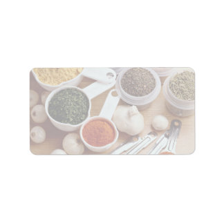 Picture of Fresh spices with garlic cloves Address Label