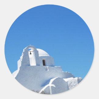 Picturesque Whitewashed Greek Church on Mykonos Classic Round Sticker