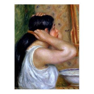 Pierre A Renoir | Girl Combing her Hair Postcard