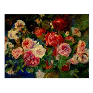 Pierre Renoir painting, Roses Postcard