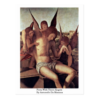 Pieta With Three Angels By Antonello Da Messina Postcard