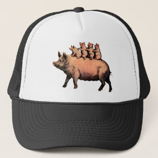 pig and piglets trucker hat
