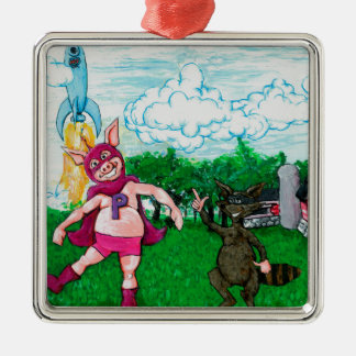 Pig and Raccoon and a Rocket Christmas Ornament