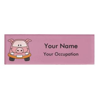 Pig cartoon car Name Tag