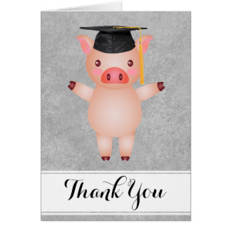 Pig Grad Thank You Greeting Card