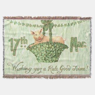 Pig Shamrock Four Leaf Clover Green Garland Throw Blanket