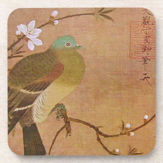 Pigeon on a Peach Branch Coaster