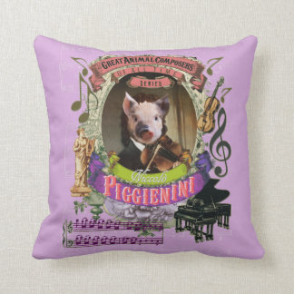 Piggienini Cute Pig Animal Composer Paganini Throw Pillow