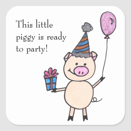 Piggy Ready to Party Square Stickers