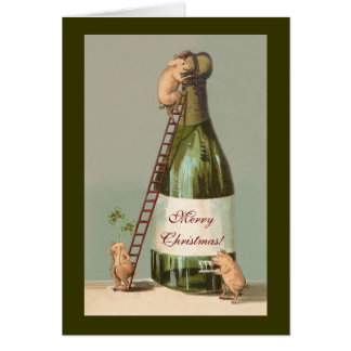 Pigs and Champagne; Funny Vintage Christmas Card