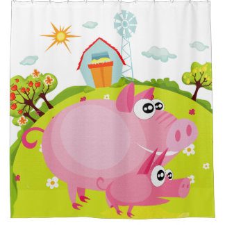 Pigs on the Farm With Hay Barn Shower Curtain