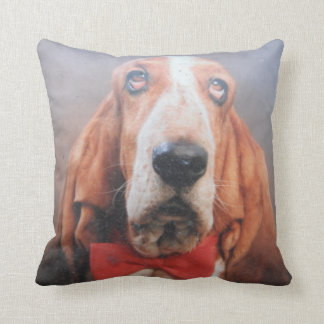 Pillow Basset Hound Red Bow Tie Red Back