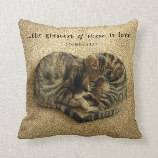 Pillow with cats in the shape of a heart. throw cushion