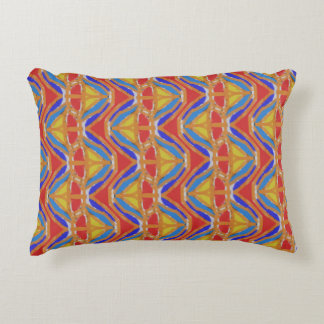 Pillow with yellow orange and blue accent cushion