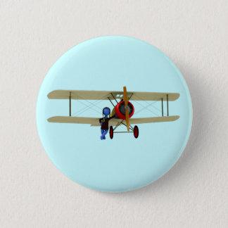 Pilot and Biplane 6 Cm Round Badge