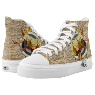 Pin Up Girl Archery Vintage Dictionary Art High Tops