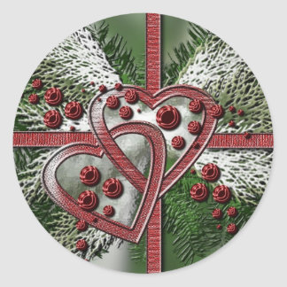 Pine Berry Hearts Christmas Stickers
