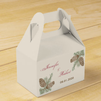 Pine Cone Nature on Cream Wedding Favour Box