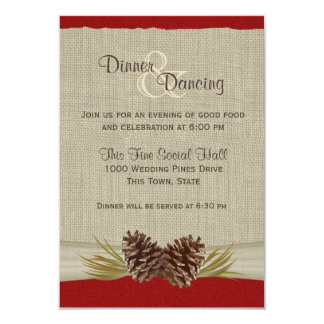 Pine Cones and Burlap Red Reception Card