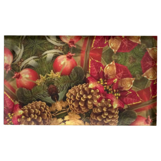 Pine cones and pomegranates table card holder