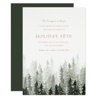 Pine Forest Holiday Party Invitations