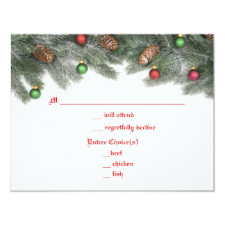 Pine Ornament Christmas Wedding Response Cards 11 Cm X 14 Cm Invitation Card