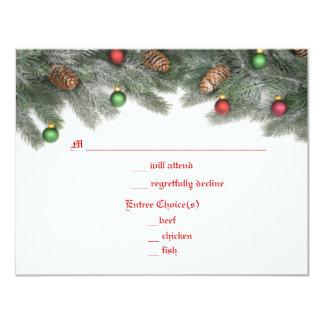 Pine Ornament Christmas Wedding Response Cards Invites