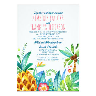 pineapple beach palms tropical wedding card