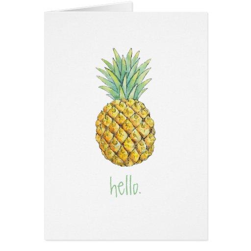 Pineapple Hello greeting card