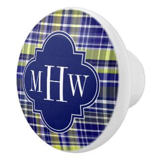Pineapple Navy Blue White Preppy Madras Monogram Ceramic Knob