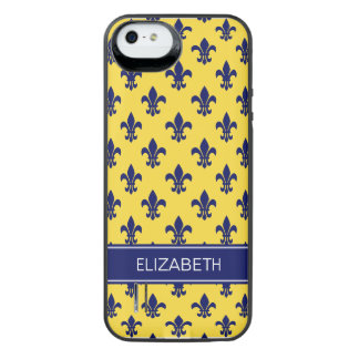 Pineapple Navy Fleur de Lis Navy Name Monogram iPhone SE/5/5s Battery Case