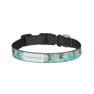 PINEAPPLE O'CLOCK Tropical Whimsical Watercolor Dog Collar