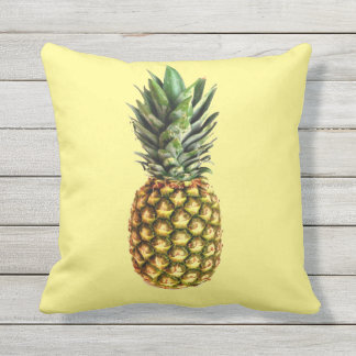 Pineapple print outdoor throw pillow for garden