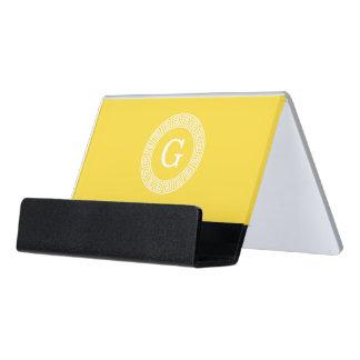 Pineapple Wht Greek Key Rnd Frame Initial Monogram Desk Business Card Holder