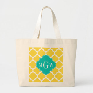 Pineapple Wht Moroccan #5 Teal 3 Initial Monogram Large Tote Bag