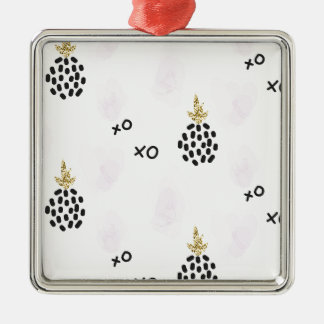 Pineapples and pink leopard print. XOXO Christmas Ornament