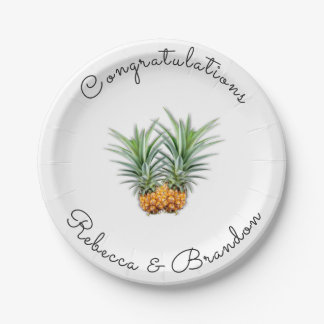 Pineapples Congratulations Newlyweds Paper Plates 7 Inch Paper Plate