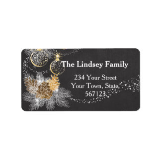 Pinecone Ornaments Chalkboard Christmas Address Label
